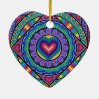 Cute and colourful heart decoration by Soozie Wray Double-Sided Heart Ceramic Christmas Ornament
