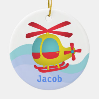 Cute and Colourful Helicopter for Kids Double-Sided Ceramic Round Christmas Ornament