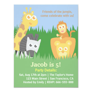 Cute and Colourful Jungle Animals Birthday Party Card