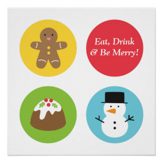 Cute and Colourful Merry Christmas Centrepiece Poster