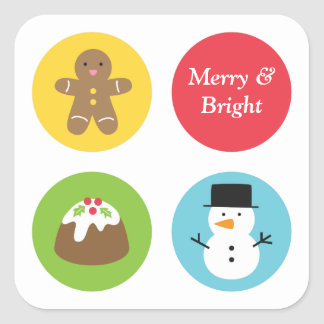 Cute and Colourful Merry Christmas Favourites Square Sticker