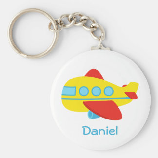 Cute and Colourful Passenger Aeroplane Basic Round Button Keychain
