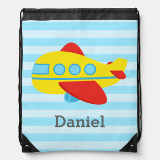 Cute and Colourful Passenger Aeroplane For Boys Drawstring Bag