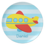 Cute and Colourful Passenger Aeroplane Melamine Plate