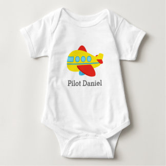 Cute and Colourful Passenger Aeroplane, Pilot Baby Bodysuit
