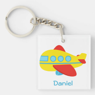 Cute and Colourful Passenger Aeroplane Single-Sided Square Acrylic Keychain