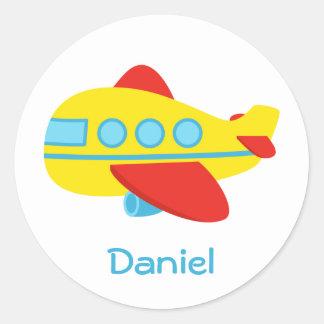 Cute and Colourful Passenger Aeroplane Round Sticker