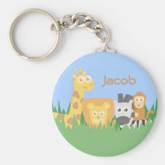Cute and Colourful Safari Animals Basic Round Button Keychain