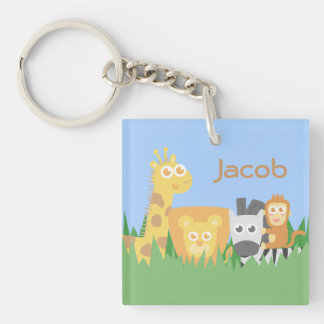 Cute and Colourful Safari Animals Double-Sided Square Acrylic Keychain