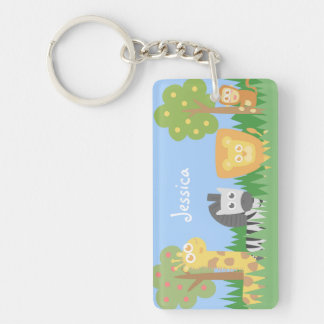 Cute and colourful Safari Animals, for kids Double-Sided Rectangular Acrylic Keychain