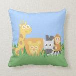 Cute and Colourful Safari Animals, for Kids Throw Pillows