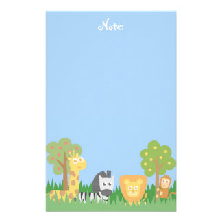 Cute and colourful Safari Animals, for kids Stationery