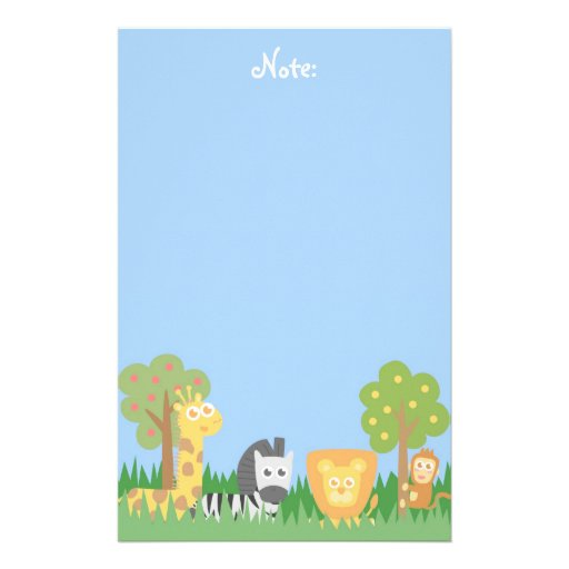 Cute and colourful Safari Animals, for kids Personalized Stationery