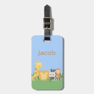 Cute and Colourful Safari Animals Luggage Tag