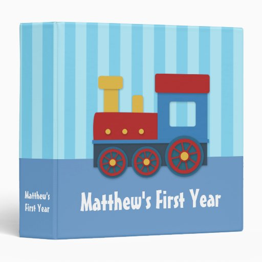 Cute and Colourful Train, Baby Boy Photo Album 3 Ring Binder