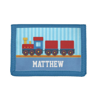 Cute and Colourful Train, Blue stripe for Boy Trifold Wallets