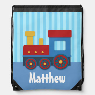 Cute and Colourful Train, Blue Strips, for Boys Drawstring Bag