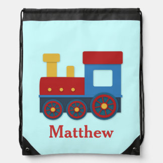 Cute and Colourful Train for Boys Drawstring Backpack