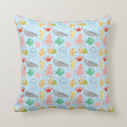 Cute and Colourful Underwater Animals Pattern Throw Pillow