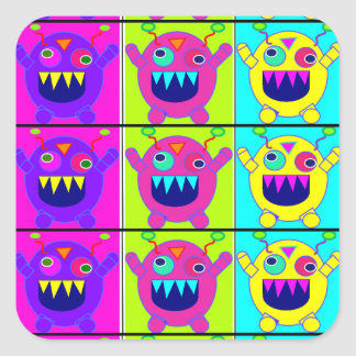 cute and crazy monsters square sticker