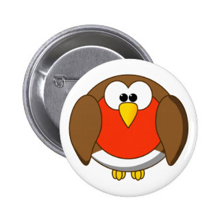 Cute and Crazy Robin Red Breast Cartoon Bird Button