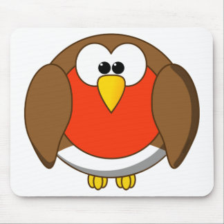 Cute and Crazy Robin Red Breast Cartoon Bird Mouse Pad