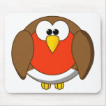 Cute and Crazy Robin Red Breast Cartoon Bird Mouse Pads