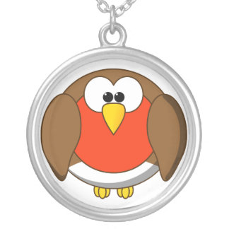 Cute and Crazy Robin Red Breast Cartoon Bird Silver Plated Necklace