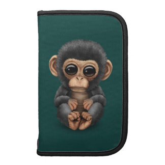 Cute and Curious Baby Chimpanzee on Teal Blue Folio Planners