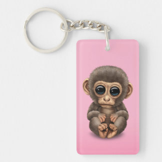Cute and Curious Baby Monkey on Pink Keychain