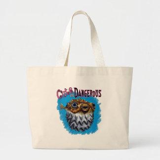 Cute And Dangerous Puffer Fish Blue Jumbo Tote Bag