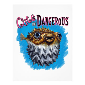 Cute And Dangerous Puffer Fish Blue Letterhead
