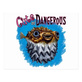 Cute And Dangerous Puffer Fish Blue Postcard