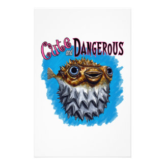 Cute And Dangerous Puffer Fish Blue Stationery