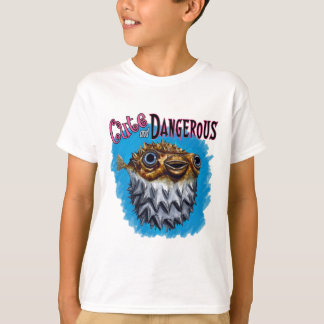 Cute And Dangerous Puffer Fish Blue T-Shirt