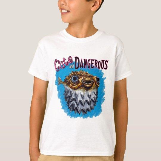 Cute And Dangerous Puffer Fish Blue T-Shirt
