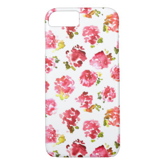 Cute and elegant pink vintage roses pattern iPhone 7 case