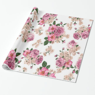 cute and elegant vintage roses,pink roses wrapping paper