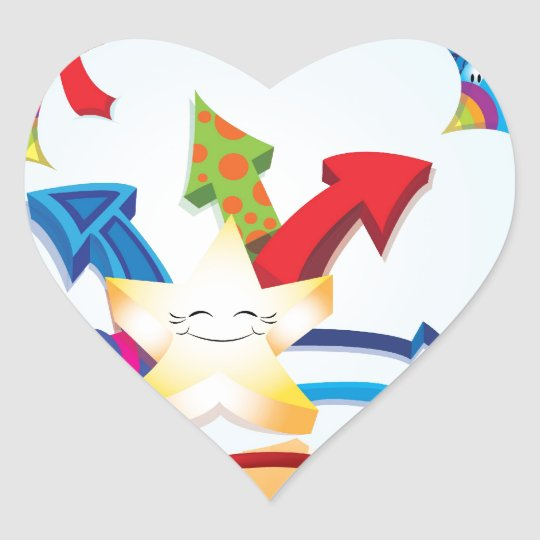 Cute and excited star bursting through clouds heart sticker