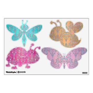 Cute and Fancy Colorful Insects Damask Pattern Wall Sticker