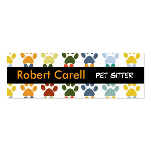 Cute and Fancy  Colorful Pet Print Paws Double-Sided Mini Business Cards (Pack Of 20)