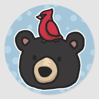Cute and Friendly Bear and Cardinal Classic Round Sticker