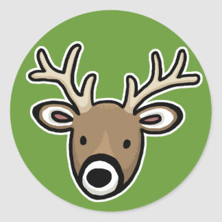 Cute and Friendly Deer Face Classic Round Sticker