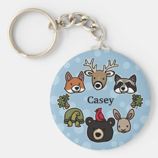 Cute and Friendly Forest Animals, Add Child's Name Basic Round Button Keychain