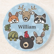 Cute and Friendly Forest Animals, Add Child's Name Coaster
