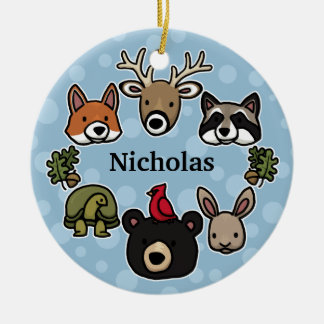 Cute and Friendly Forest Animals, Add Child's Name Double-Sided Ceramic Round Christmas Ornament