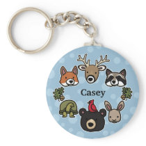 Cute and Friendly Forest Animals, Add Child's Name Keychain
