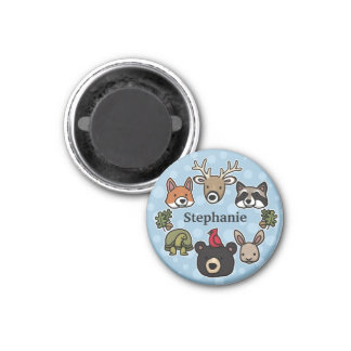 Cute and Friendly Forest Animals, Add Child's Name Magnet