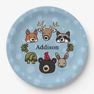 Cute and Friendly Forest Animals, Add Child's Name Paper Plate