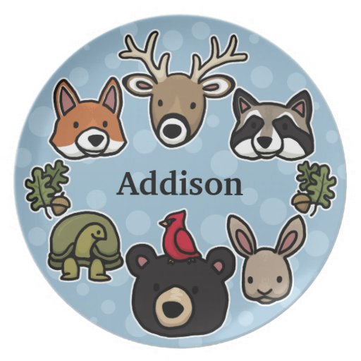 Cute and Friendly Forest Animals, Add Child's Name Dinner Plates